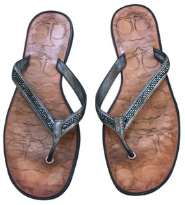 Coach Greyish with greyish beading Sandals