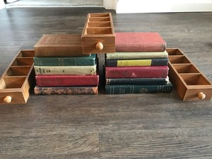 Vintage Books & Library Card Drawers