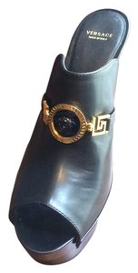 Versace Made In Italy Clog Platform Black Sandals