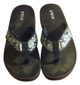 Teva Black Wedges