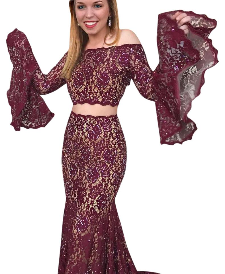 a9d8e353bab8 Jovani Burgundy 45894 Two Piece Bell Sleeve Lace Prom Long Formal ...