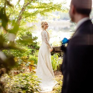 Casablanca Stunning One-of-a-kind All-over Lace Casablanca Wedding Dress With Full Length Lace Sleeves Wedding Dress