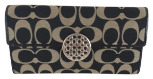 Coach Coach Alexandra Black and Gray Trifold Wallet