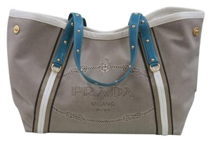 Prada Logo Canvas Leather Shoulder Bag