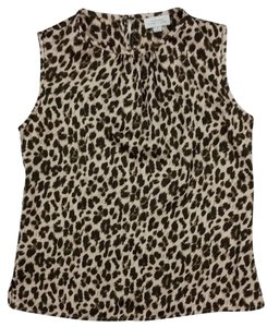 Tahari Spring Summer Sleeveless Animal Print Top Brown Gold Leopard