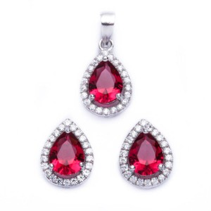 9.2.5 Gorgeous ruby and white sapphire pear shape earrings and pendant set