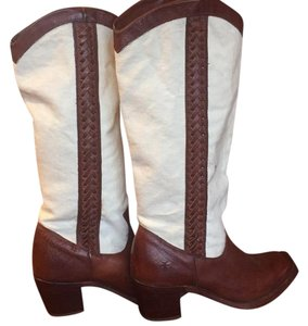 Frye ivory and brown leather Boots