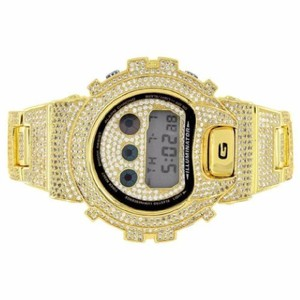 G-Shock Gold Tone G Shock Watch Iced Out Simulated Diamonds Dw6900 Mens Classy