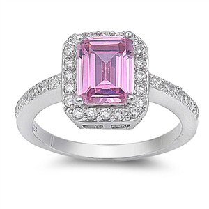 9.2.5 Gorgeous square pink ice topaz cocktail ring size 7