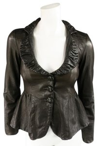 Emporio Armani Leather Ruffle Cropped Textured Crocodile Brown Jacket