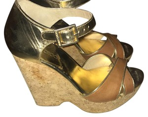 Jimmy Choo Brown & Gold Wedges