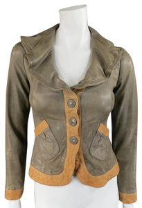 Emporio Armani Leather Textured Distressed Cropped Armani Taupe Jacket