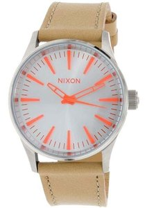 Nixon A377-2089 Sentry Brown Leather Bracelet With Silver Analog Dial