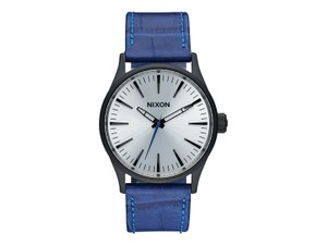 Nixon A377-2131 Sentry Blue Leather Bracelet With Silver Analog Dial Watch