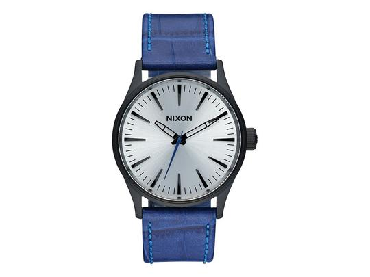 Nixon A377-2131 Sentry Blue Leather Bracelet With Silver Analog Dial Watch Image 0