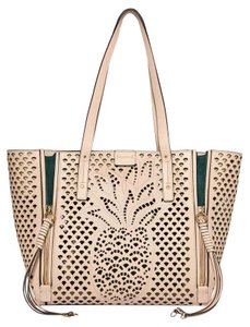 Chloé Chloe Pineapple Leather Perforated Tote in abstract white