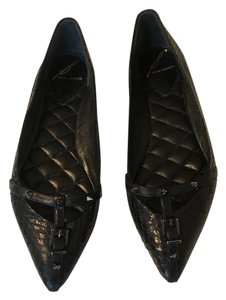 B Brian Atwood Studded Snakeskin Black Flats
