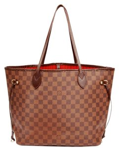 Louis Vuitton Neverfull Mm Damier Canvas Leather Tote in Damier Ebene