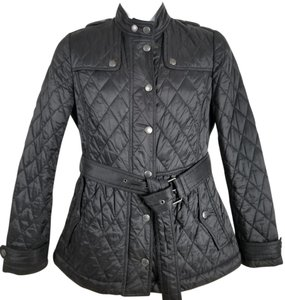 Burberry Brit Diamond-quilted Stand Collar Snap-tab Cuffs Outer Snap Two-way Front-zip Motorcycle Jacket