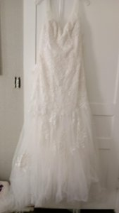 Melissa Sweet Ivory Lace and Tulle Illusion Mermaid Feminine Wedding Dress Size 8 (M)
