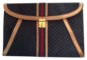 Gucci Canvas Exterior Leather Interior Perfect Condition Black Clutch