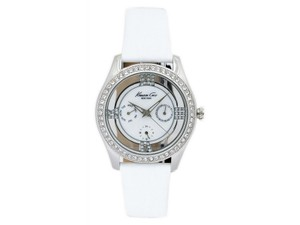 Kenneth Cole KC2809 Women's White Leather Bracelet With Mother Of Pearl Dial