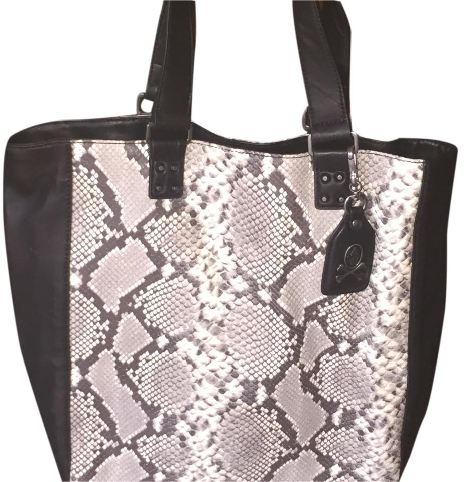 702219994414 Ash Python Black White Leather Tote - Tradesy