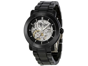 Kenneth Cole KC4725 Women Black Metal Bracelet With Black Skeleton Analog Dial