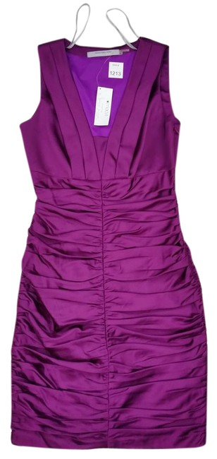 Item - Purple Ruched Violet-orchid-purple Satin Lined Short Night Out Dress Size 2 (XS)