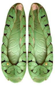 Ted Baker Lattice Leather Green Wedges