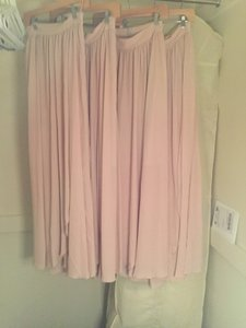BHLDN Taupe Pink Nylon; Poly-spandex Lining Blush Maxi Skirt Feminine Bridesmaid/Mob Dress Size 4 (S)