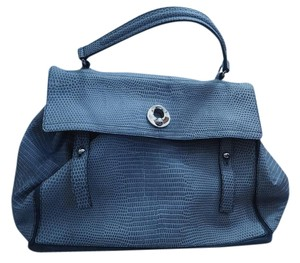 Saint Laurent Ysl Leather Embossed Muse 2 Tote in Blue