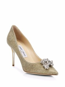 Jimmy Choo Mamey Glitter Crystal Jimmy Silver Pumps