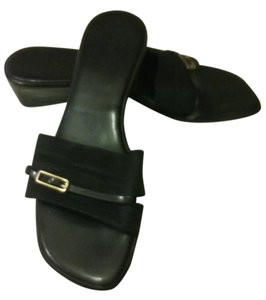 Preview Collection Buckle Wedge Slip On black Sandals