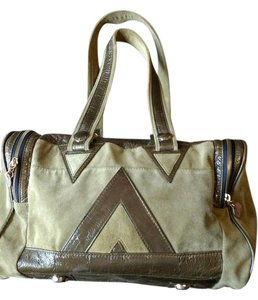 Gustto Patent Suede Satchel in Green