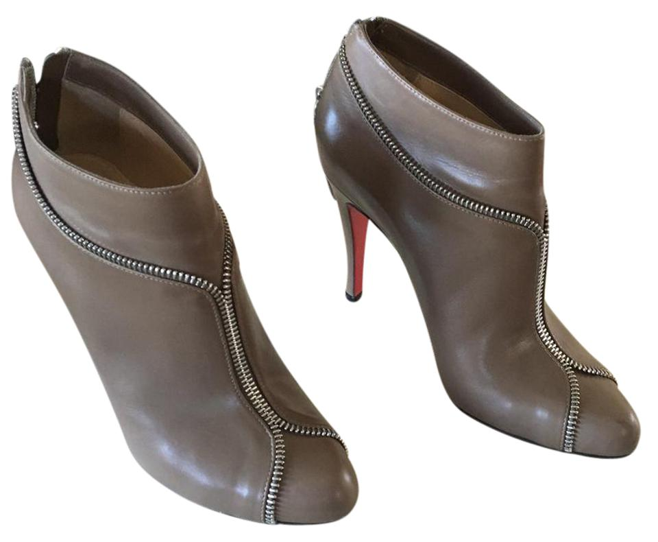 Christian Louboutin Taupe/Silver Shiny Colizip 100 Shiny Taupe/Silver Calf Boots/Booties 9e50f3
