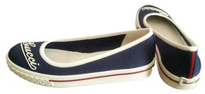 Gucci Ballerina Sneakers Logo New Navy Blue and White Flats