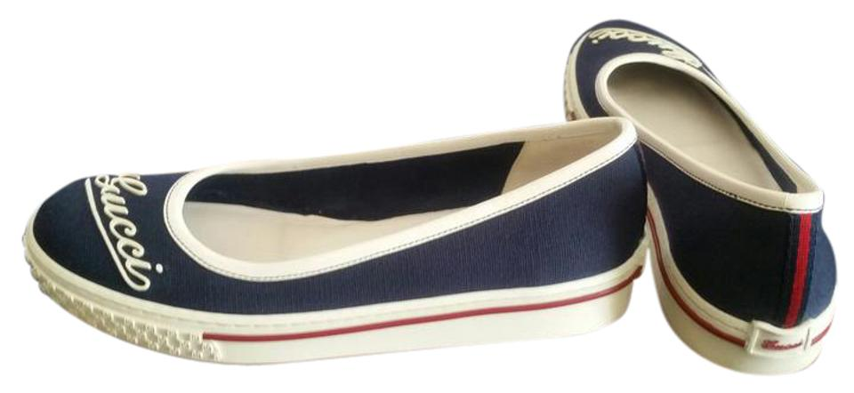 metà fuori 32ae9 6a0f4 Gucci New Navy Blue and White Signature Ballerina Sneaker Flats ...