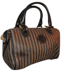 Fendi Good Vintage Design Two-way Style Removable Strap Great For Everyday Satchel in black/brown thin striped print & black/brown leather