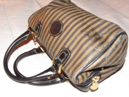 Fendi Good Vintage Design Two-way Style Removable Strap Great For Everyday Satchel in black/brown thin striped print & black/brown leather Image 2