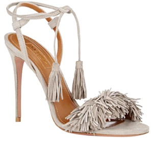 Aquazzura Wild Thing Wild Fringe Suede Grey Sandals