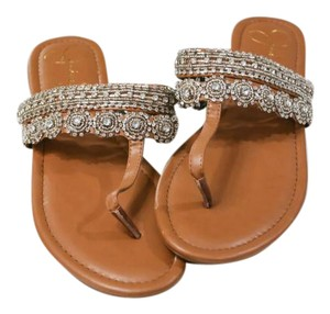 Jessica Simpson Boho Beaded Bohemian Tan & Silver Sandals