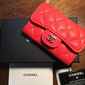 Chanel Chanel 2017 Valentine Red Caviar Card Case Wallet