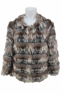 Linda Richards Fox Fur Knit Cardigan Gray Jacket
