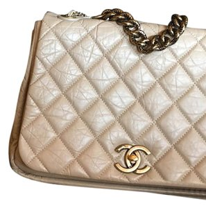 Chanel Pondi-cherry Calfskin Beige Shoulder Bag