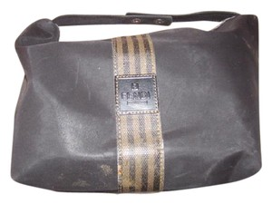 Fendi Timeless Style Clutch/Cosmetic Excellent Vintage Multi-purpose Piece Great To Mix & Match black and brown thin striped coated canvas, black fabric and black leather Clutch