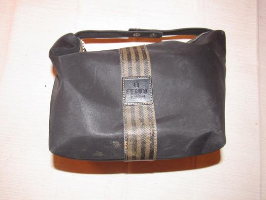 Fendi Timeless Style Clutch/Cosmetic Excellent Vintage Multi-purpose Piece Great To Mix & Match black and brown thin striped coated canvas, black fabric and black leather Clutch Image 11