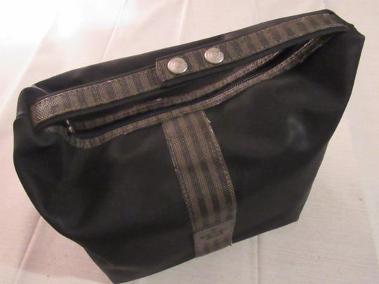 Fendi Timeless Style Clutch/Cosmetic Excellent Vintage Multi-purpose Piece Great To Mix & Match black and brown thin striped coated canvas, black fabric and black leather Clutch Image 3