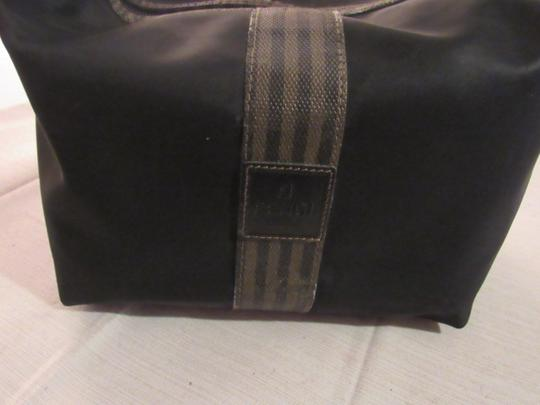 Fendi Timeless Style Clutch/Cosmetic Excellent Vintage Multi-purpose Piece Great To Mix & Match black and brown thin striped coated canvas, black fabric and black leather Clutch Image 4
