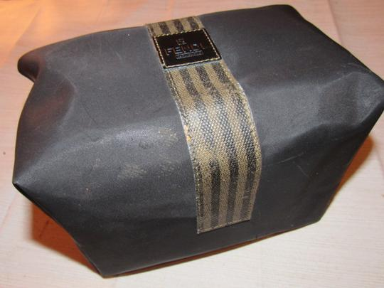 Fendi Timeless Style Clutch/Cosmetic Excellent Vintage Multi-purpose Piece Great To Mix & Match black and brown thin striped coated canvas, black fabric and black leather Clutch Image 5